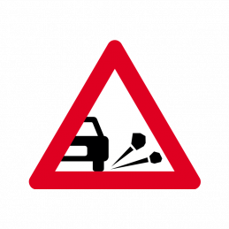 A 33 - Løse sten på kørebanen
