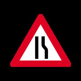 A 43.3 - Indsnævret vej i højre side