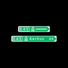 F12 - Pilevejviser grøn/hvid - enkeltsidet