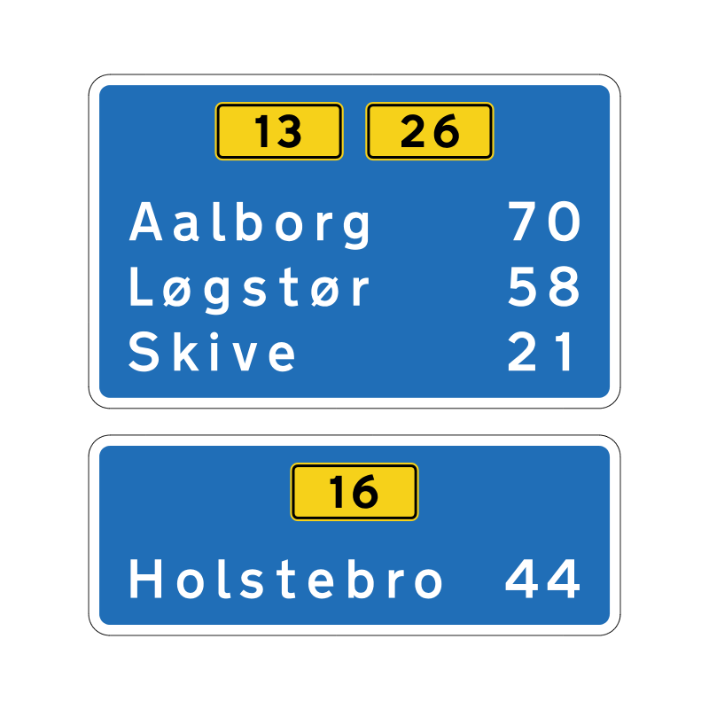 H42 - Delt afstandstavle