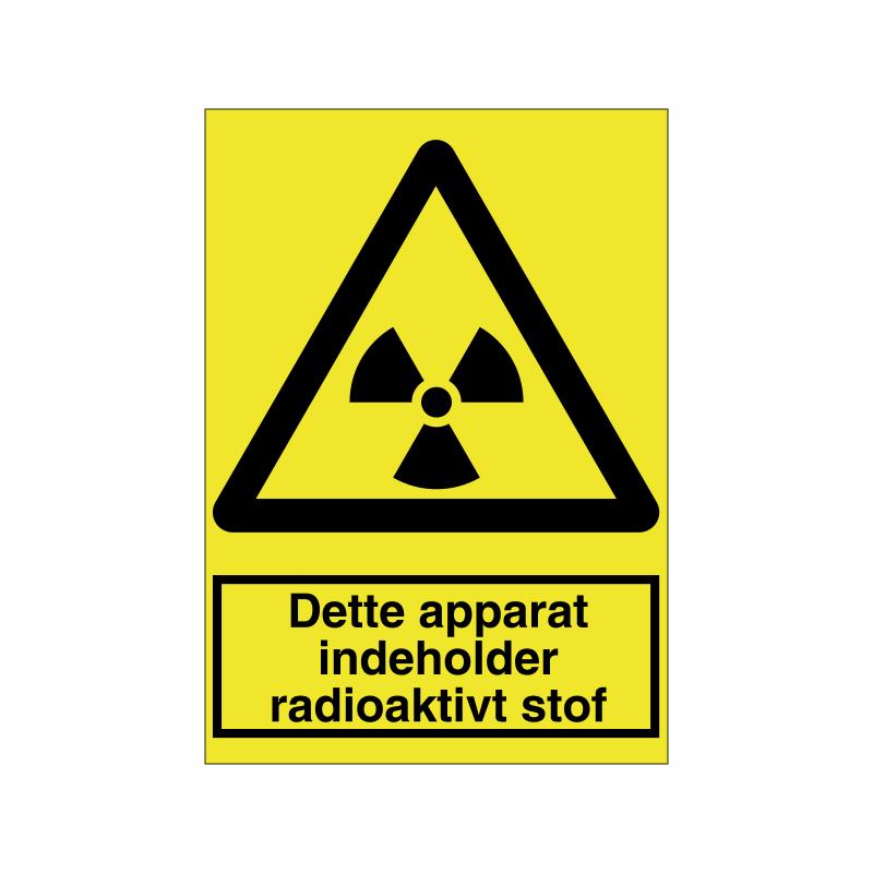 Dette apparat indeholder et radioaktivitet stof