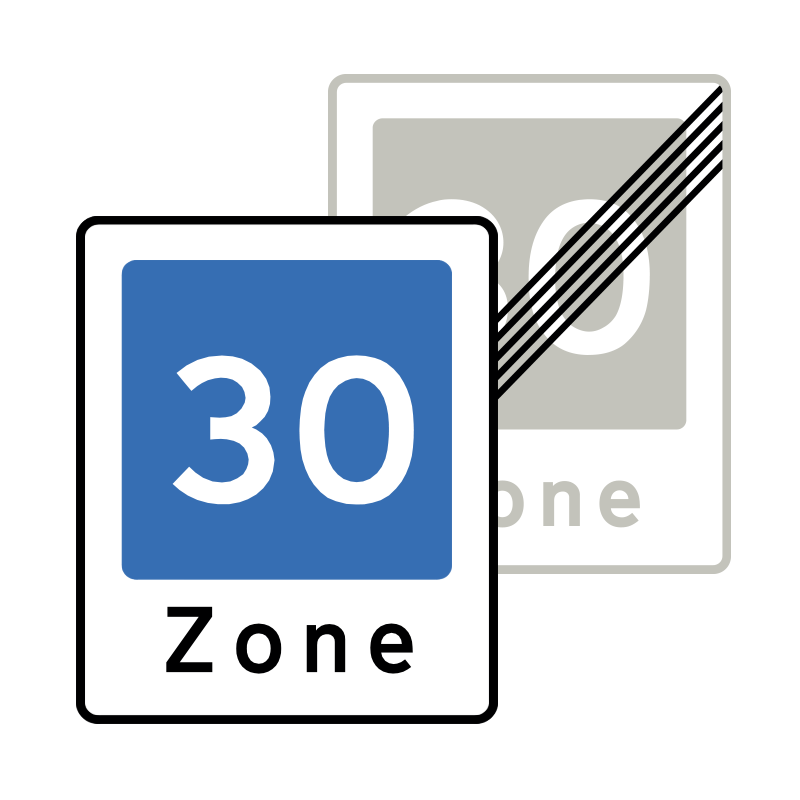 E53/E54 - Område med fartdæmpning / Ophør