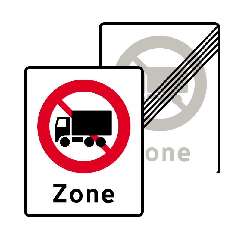 E68.5/E69.5 - Zone med lastbil forbudt / Ophør