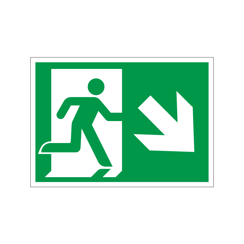 Flugtvej / nødudgang til højre og ned