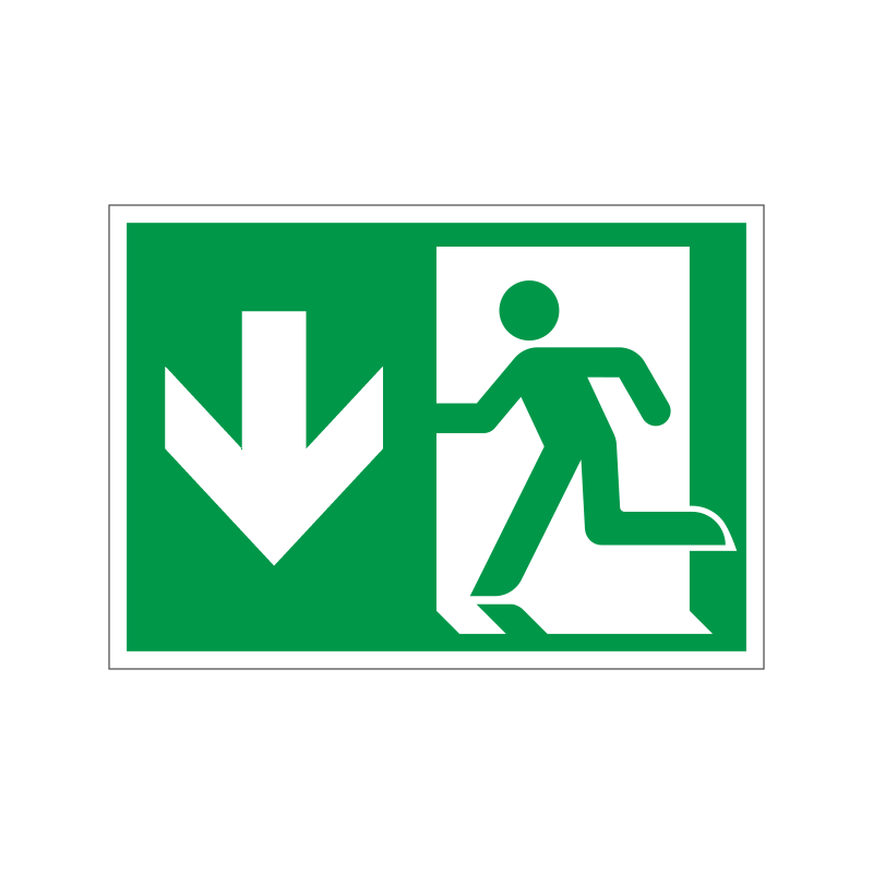 Flugtvej / nødudgang venstre og ned