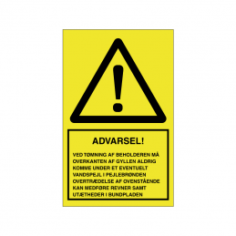advarsel ved tømning