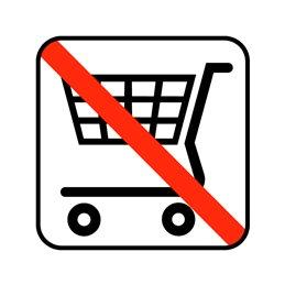 pictogram - indkøbsvogn ikke tilladt