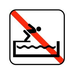 pictogram / piktogram - Ingen hovedspring i soppe og træningsbassin