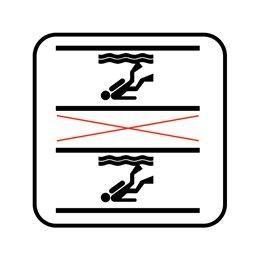 pictogram / piktogram - Dykning i springbassin tilladt indenfor afmærkning