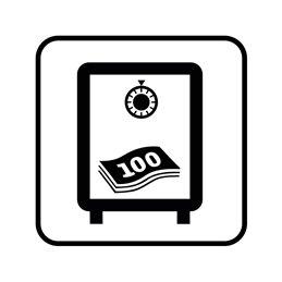 pictogram / piktogram - Penge opbevares / deponeres i pengeskab