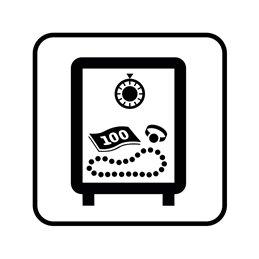 pictogram / piktogram - Værdigenstande opbevares / deponeres i pengeskab