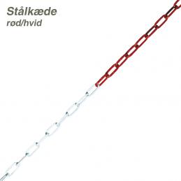 afspærringskæde rød/hvid stål