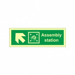 Assembly station symbol with arrow diagonally up left