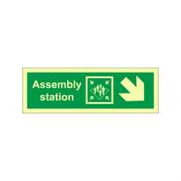 Assembly station symbol with arrow diagonally down right
