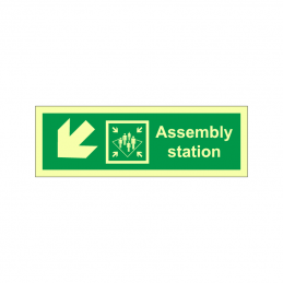 Assembly station symbol with arrow diagonally down left