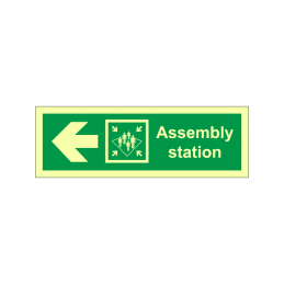 Assembly station symbol with arrow  left