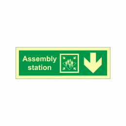 Assembly station symbol with arrow down