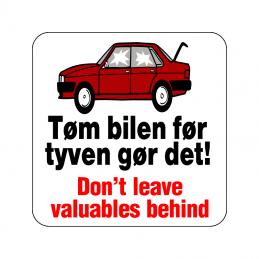 tøm bilen før tyven gør det